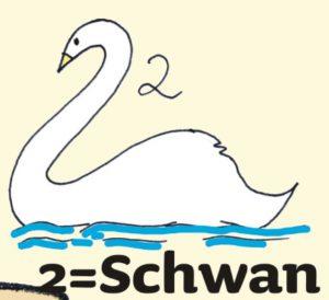 Zahlen merken: 2 Schwan